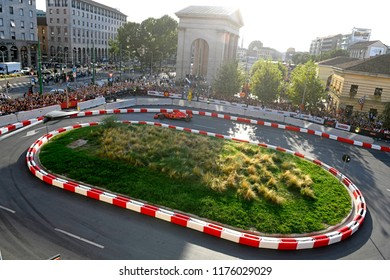 MILAN, ITALY-AUGUST 29, 2018: top panoramic view of the Ferrari Formula 1 car, during an exhibition on a city circuit along the Darsena district, in Milan.