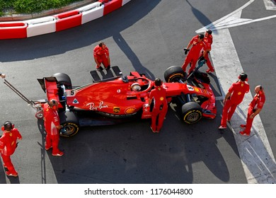 MILAN, ITALY-AUGUST 29, 2018: top view Ferrari Formula 1's driver, Sebastian Vettel, during an exhibition on a city circuit, during the Milan F1 Festival, in Milan.