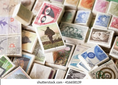 MILAN, ITALY,CIRCA MAY 2016, FLEA MARKET: vintage stamps packs exposed in a stall of a junk dealer at Naviglio flea market. It is the most important flea market of the town, macro closeup