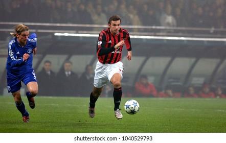MILAN, ITALY-DECEMBER 07, 2005: AC Milan soccer player Andriy Shevchenko (Ukraine) during a UEFA Champions League match AC Milan vs Shalke 04 at the San Siro soccer stadium, in Milan.