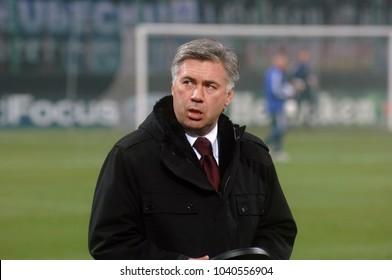 MILAN, ITALY-DECEMBER 07, 2005: AC Milan soccer coach, Carlo Ancelotti, at the SAan Siro soccer stadium, in Milan.