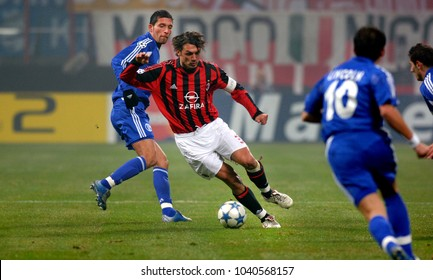 MILAN, ITALY-DECEMBER 07, 2005. famous AC Milan soccer player and captain Paolo Maldini, in action at the San Siro soccer stadium, in Milan.