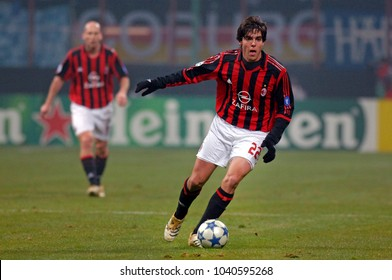 MILAN, ITALY-DECEMBER 07, 2005. famous AC Milan Brazilian soccer player Kaka in action at the San Siro soccer stadium, in Milan.