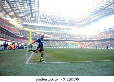 MILAN, ITALY-FEBRUARY 07, 2010: FC Internazionale brazilian soccer player Maicon kicks a corner during the italian serie A league, in Milan.