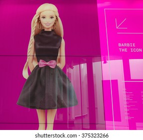 MILAN, ITALY-FEBRUARY 10, 2016: Barbie the icon, huge Barbie's image of the exhibition's entrance at the new MUDEC museum, Cultures Museum, in Milan.