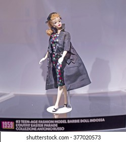MILAN, ITALY-FEBRUARY 10, 2016: Barbie the icon exhibition, first 1959  barbie dolls series displayed at the at the new MUDEC museum, Cultures Museum, in Milan.