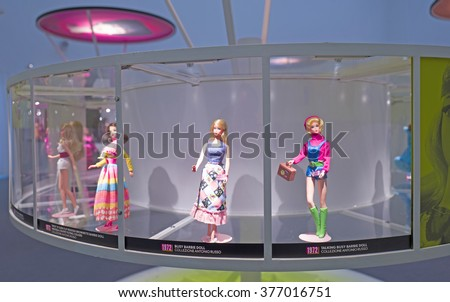 MILAN, ITALY-FEBRUARY 10, 2016: Barbie the icon, seventies  barbie dolls exhibition at the new MUDEC museum, Cultures Museum, in Milan.
