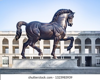 MILAN, ITALY-FEBRUARY 15, 2019: Leonardo's Horse (aka Gran Cavallo) the largest equestrian statue in the world by Leonardo da Vinci and Nina Akamu