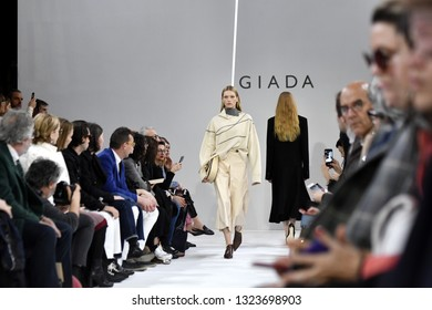 MILAN, ITALY-FEBRUARY 21, 2019: female models catwalk during the Giada's fall/winter fashion show, inside the Braidense Library of the Brera's Pinacoteca, in Milan.