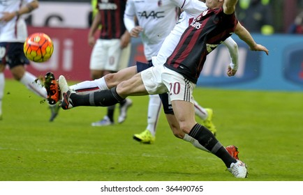 MILAN, ITALY-JANUARY 06, 2016: soccer players in action during the italian serie  A soccer match AC Milan vs Bologna, in Milan.