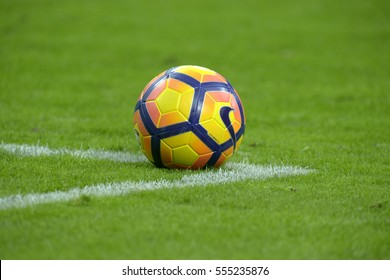 MILAN, ITALY-JANUARY 08, 2017: official soccer ball on the grass of san siro soccer stadium, in Milan.