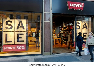 MILAN, ITALY-JANUARY 17, 2018: shopping window sales are displayed on a Levis clothing store, in Milan.