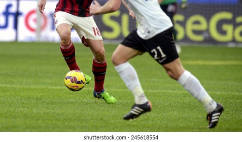 MILAN, ITALY-JANUARY 18, 2015: close up of soccer players in action during the italian serie A soccer match AC Milan vs Atalanta, in Milan.