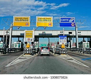 MILAN, ITALY-JANUARY 19, 2018: motorway exit barrier payment lines, in Milan.