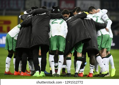 MILAN, ITALY-JANUARY 19, 2018: soccer players embrace at the end the italian match Inter Milan vs Sassuolo, at the san siro stadium at night, in Milan.