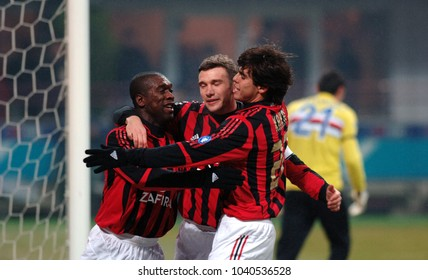 MILAN, ITALY-JANUARY 29, 2006: AC Milan soccer player Andriy Shevchenko (Ukraine) winner of the Golden Ball on 2004, celebrates with team mates Seedorf and Kakà, in Milan.