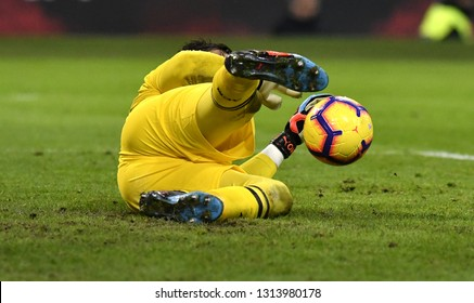 MILAN, ITALY-JANUARY 29, 2019: AC Milan soccer goalkeeper on yellow uniform,  saves the ball on the san siro stadium pitch, in Milan.