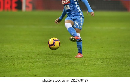 MILAN, ITALY-JANUARY 29, 2019: soccer player action's close up, kicks the ball on the san siro stadium pitch, in Milan.