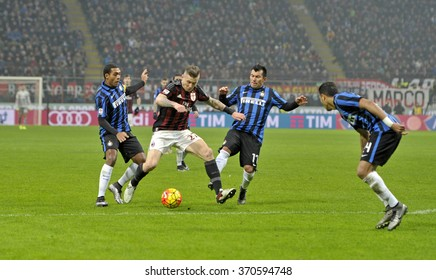 MILAN, ITALY-JANUARY 31, 2016: soccer players action during the soccer derby match AC Milan vs FC Internazionale, at the san siro stadium, in Milan.