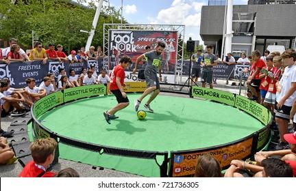 MILAN, ITALY-JULY 01, 2017: soccer freestyle courtyard, in Milan.
