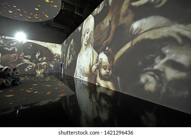 MILAN, ITALY-JUNE 06, 2019: inter-active exhibition Leonardo on 3D, to celebrate the 500th anniversary of the death of the hisrorical Italian artist and scientist, Leonardo da Vinci, in Milan.