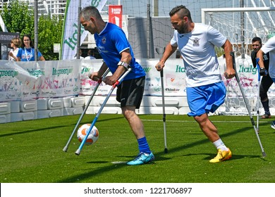 MILAN, ITALY-JUNE 30, 2018: amputee soccer players during a friendly match Italy vs England, in Milan.