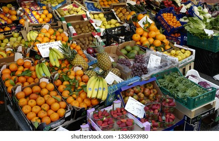 MILAN, ITALY-MARCH 01, 2019: fruits and vegetables outdoor street market, in Milan.