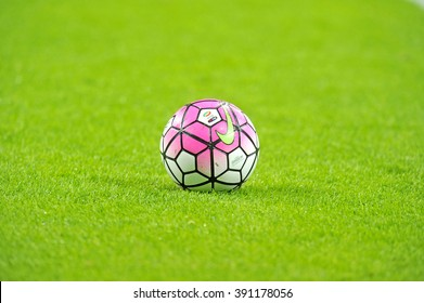MILAN, ITALY-MARCH 03, 2016: Nike official soccer ball on the grass during the match FC Internazionale vs FC Juventus at the san siro stadium, in Milan.