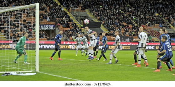 MILAN, ITALY-MARCH 03, 2016: soccer players action during the match FC Internazionale vs FC Juventus at the san siro stadium, in Milan.