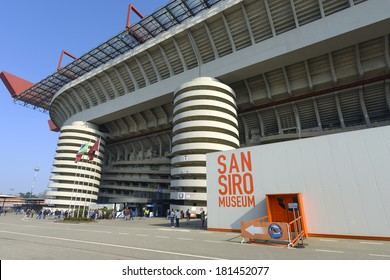 MILAN, ITALY-MARCH 09, 2014: San Siro soccer stadium seen from outside, before a Serie A soccer match, in Milan.
