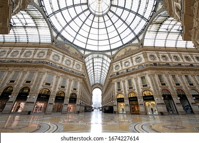 MILAN, ITALY-MARCH 15, 2020: the empty historical and fashion luxury's mall Galleria Vittorio Emanuele, due to the coronavirus's emergency, in Milan.