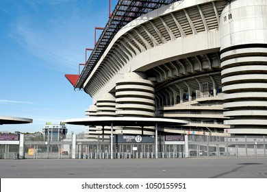 MILAN, ITALY-MARCH 16, 2018: architecture of the Giuseppe Meazza soccer stadium in San Siro, seen from the outside, in Milan.