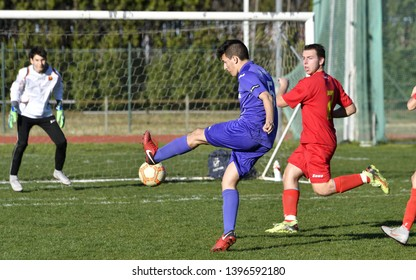 MILAN, ITALY-MARCH 16, 2019: youth soccer match, in Milan.