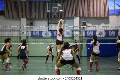MILAN, ITALY-MARCH 16, 2019: youth female volleyball teams in action, during a youth female volleyball final, in Milan.