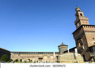 MILAN, ITALY-MARCH 17, 2014: Expo 2015 banners ribbons exposed inside the courtyard of the medieval Castello Sforzesco, in Milan, as the city is preparing to host the International event.