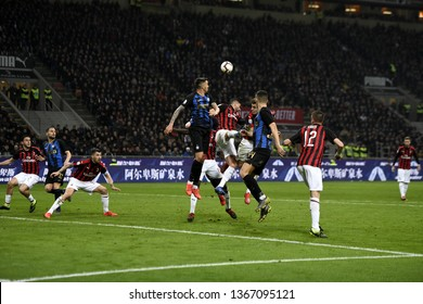 MILAN, ITALY-MARCH 17, 2019: soccer players action during the italian Serie A soccer match AC Milan vs Inter Milan, at the san siro stadium, in Milan.