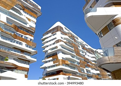 MILAN, ITALY-MARCH 18, 2016: new modern residential building houses of City Life business and residential district, in Milan.