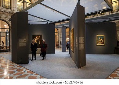 MILAN, ITALY-MARCH 22, 2018: art painting exhibition of Caravaggio and his heirs, at Le Gallerie d'Italia inside the Intesa San Paolo's bank palace, in Milan.