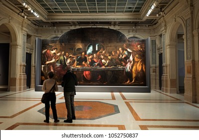 MILAN, ITALY-MARCH 22, 2018: The last Supper of Italian painter Giulio Cesare Procaccini, shown on the exhibition of Caravaggio and his heirs, at Le Gallerie d'Italia, in Milan.