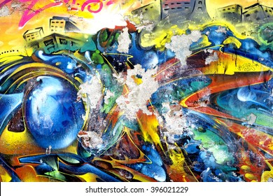 MILAN, ITALY-MARCH 24, 2016: vintage graffiti wall, in Milan.
