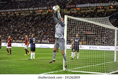MILAN, ITALY-MAY 04, 2014: Inter goalkeeper catch the ball during a Serie A soccer match AC MIlan vs Inter, at the San Siro stadium, in Milan.