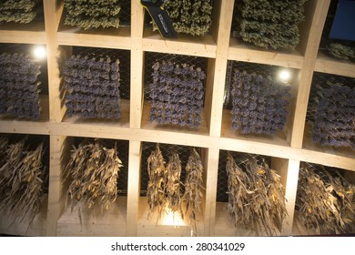 MILAN, ITALY-MAY 04, 2015: food plant on the rooftop interior architecture of the France pavillion at EXPO 2015, in Milan.