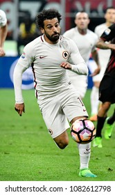 MILAN, ITALY-MAY 07, 2017: AS Roma's egyptian soccer player, Momamed Salah, in action during the italian league match AC Milan vs AS Roma, at the san siro stadium, in Milan.