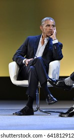 """MILAN, ITALY-MAY 09, 2017: former 44th USA president Barack Obama speacks at the international food meeting """"Seeds and Chips"""", in Milan."""