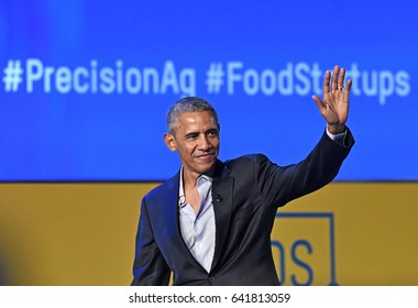 "MILAN, ITALY-MAY 09, 2017: former 44th USA president Barack Obama speacks at the international food meeting ""Seeds and Chips"", in Milan."