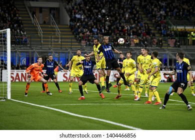 MILAN, ITALY-MAY 13, 2019: Inter Milan soccer players in action, during the italian Serie A match, Inter Milan vs Chievo Verona, in Milan.