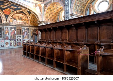 MILAN, ITALY-MAY 17, 2018: 1500ac frescoes  of Leonardo's school inside the former monastery church of San Maurizio,  , in Milan.