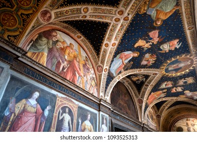 MILAN, ITALY-MAY 17, 2018: 1500ac frescoes  of Leonardo's school inside the former monastery church of San Maurizio,  , in Milan.