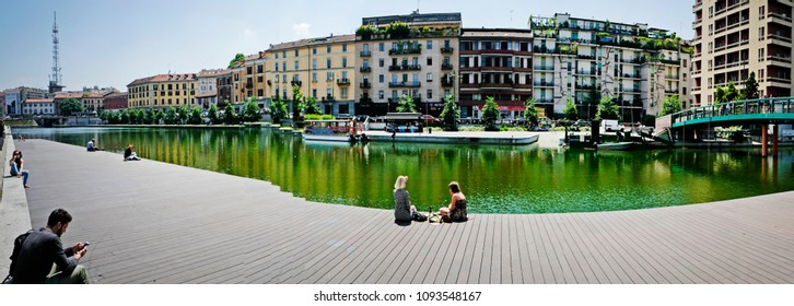 MILAN, ITALY-MAY 18, 2018: panoramic view of the new Darsena harbour of the Navigli canal district, in Milan.