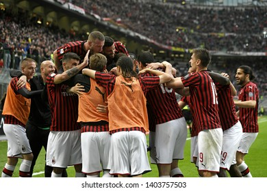 MILAN, ITALY-MAY 19, 2019: AC Milan soccer players celebrate the win, during the italian Serie A match, AC Milan vs Chievo Verona, in Milan.